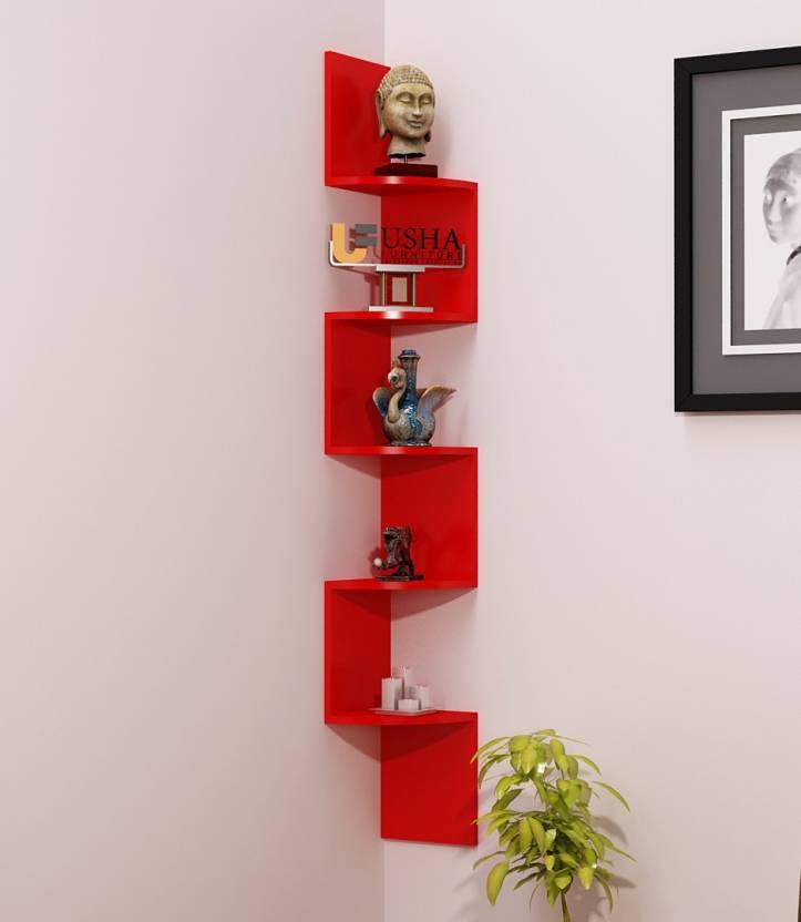 Usha Furniture Corner Mount Wall Shelves Zigzag Shape Rack Wooden Shelf Number Of 5 Red