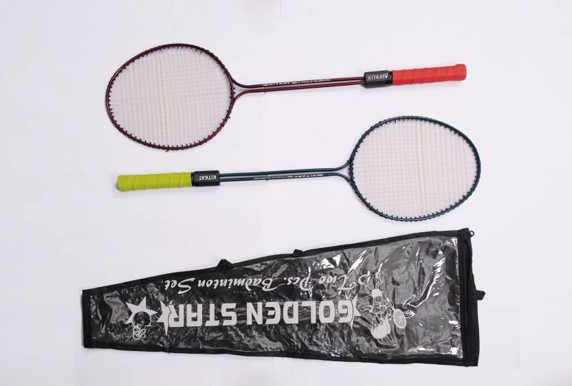 Golden Star Kitkat G4 Strung Badminton Racquet (Blue, Red, Weight - 350 g)