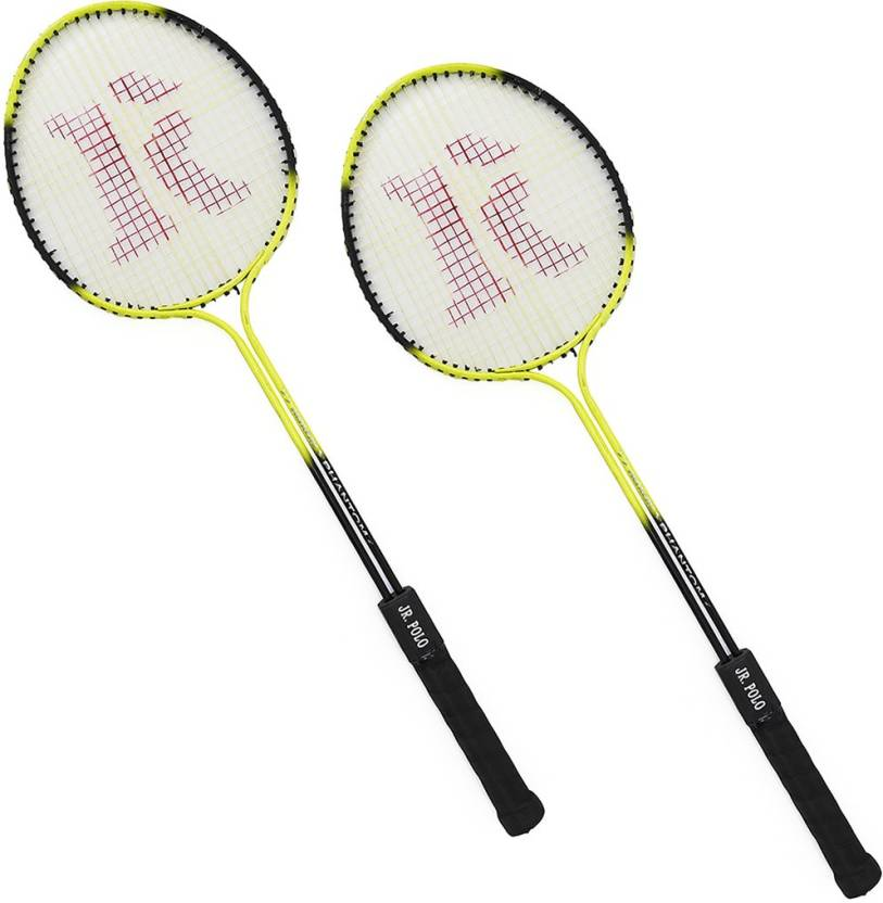 sunley roxon yellow phantom jr polo double shaft racket 6 Strung Badminton Racquet (Multicolor, Weight - 280)