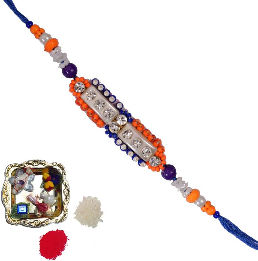 eCraftIndia Designer Rakhi  (1 Designer Single Rakhi, 1 Decorative Pooja Plate)- 28% OFF