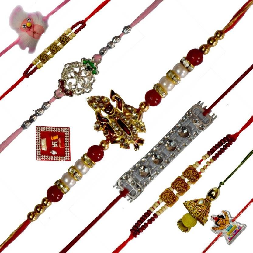 Veera Bhaiya Bhabhi Rakhi  (5 Rakhi, 1 Lumbi, 2 Children Rakhi and 1 Packet of (Roli, Moli, Chawal, Mishri))- 70% OFF