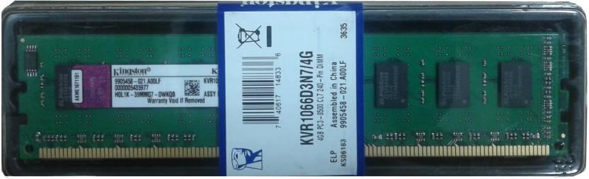 Kingston DDR3 4 GB PC DRAM (KVR1066D3N7/4G)