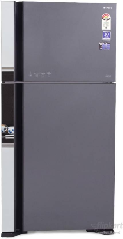 Hitachi 565 L Frost Free Double Door Refrigerator  (R-VG610PND3, Glass Grey, 2016) By Flipkart @ Rs.73,150