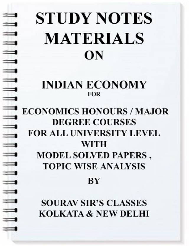Study Notes Materials On Indian Economy For Economics