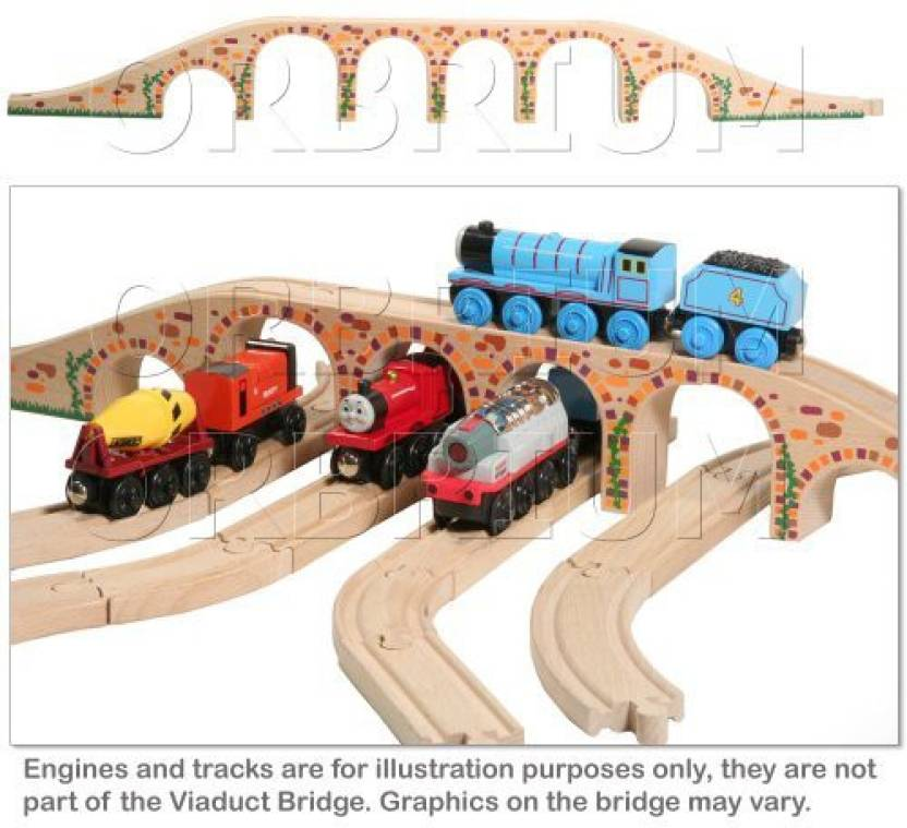 Orbrium Toys 6 Arches Viaduct Bridge For Wooden Railway Track Fits