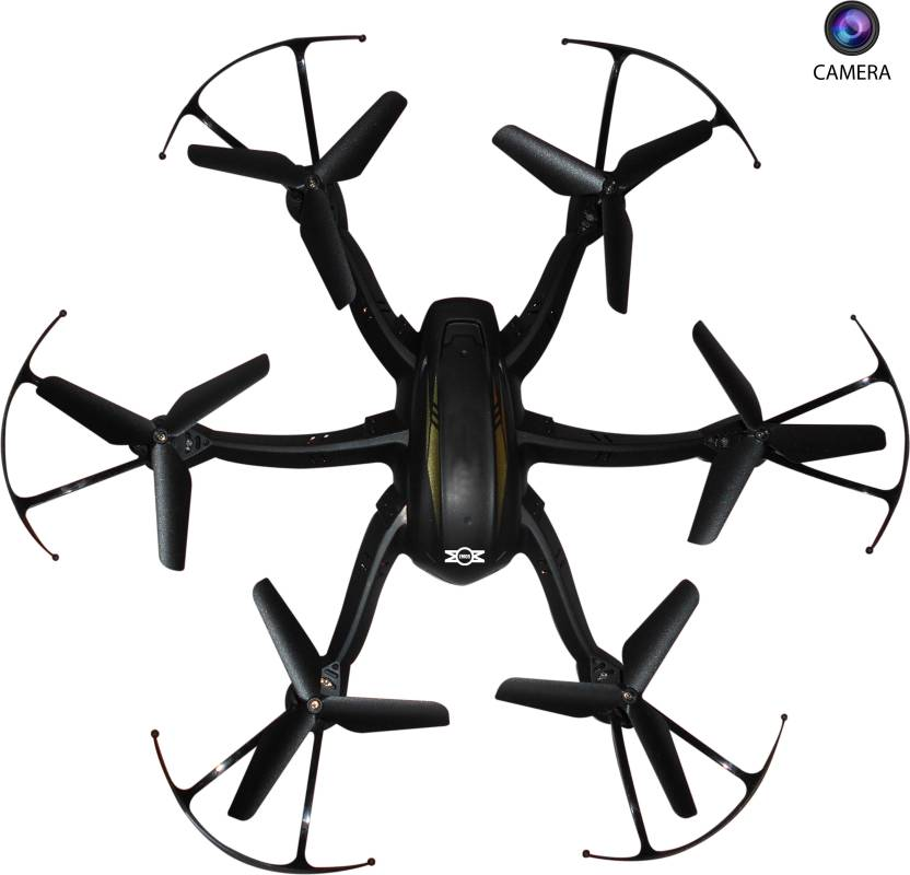 Emob 4 Channel 2 4G 6 Axis Gyro Hexacopter Quadcopter Drone with Radio  Transmitter and Receiver with Camera (Black)