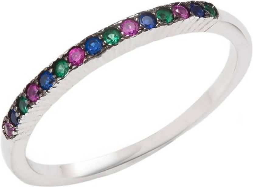 GemLN Anekvarna Band Sterling Silver Cubic Zirconia Rhodium Ring