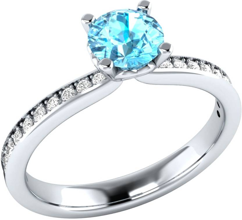 Demira Jewels Golden Beauty Sterling Silver Aquamarine, Diamond 18K White Gold Ring