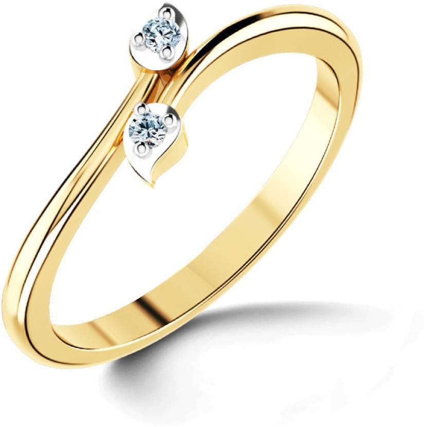72d8b3c115126 Caratlane Crossover Leaf 18kt Diamond Yellow Gold ring