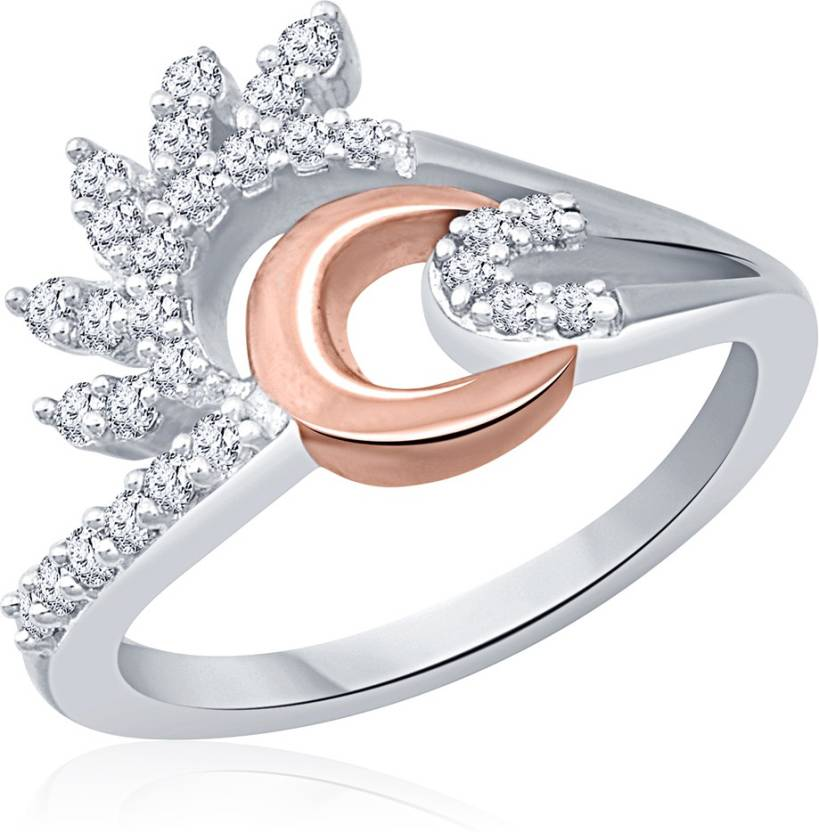 Navvya Sterling Silver Cubic Zirconia Rhodium Plated Ring