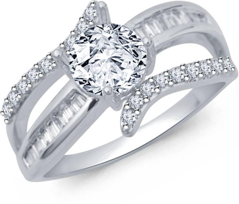 Navvya Sterling Silver Rhodium Ring