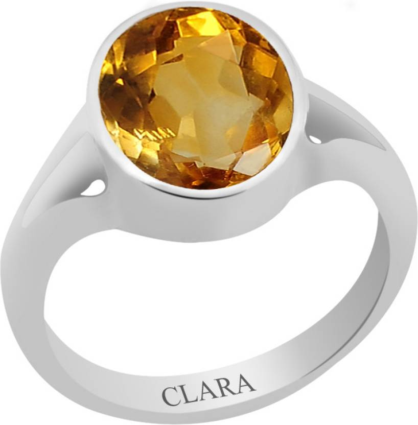Clara Certified Sunehla 4.8 cts or 5.25 ratti Zoya Sterling Silver Citrine Ring