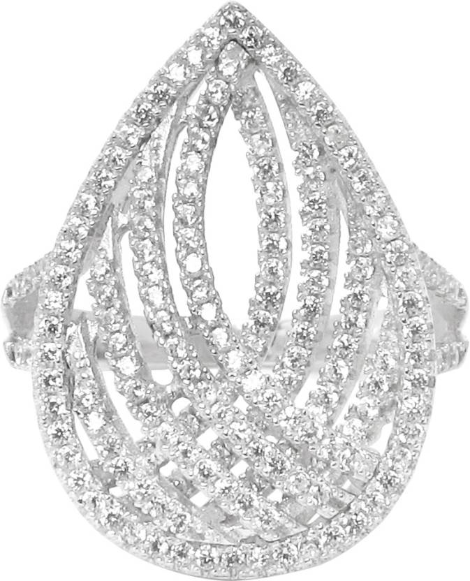 Gemtogems Spring Delight Sterling Silver Cubic Zirconia Ring