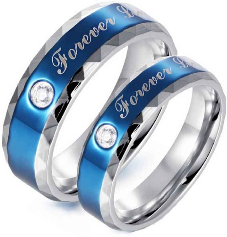 0c3523750d143 Aaishwarya Forever Love Engraved Blue Genuine Zircon Couple/ Wedding/  Promise Rings Stainless Steel Silver Plated Ring Set
