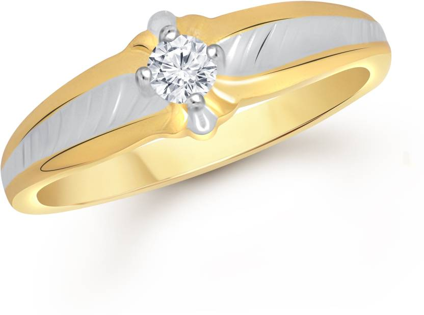 VK Jewels Single Stone Alloy Cubic Zirconia Yellow Gold Plated Ring