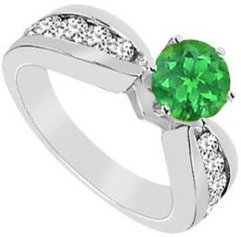 Love Bright Jewelry Sterling Silver Cubic Zirconia, Emerald Rhodium Plated Ring