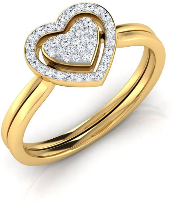 ebf8d05e47155 Caratlane Tyra Heart Ripple 3 in 1 Yellow Gold Diamond Ring Price in ...