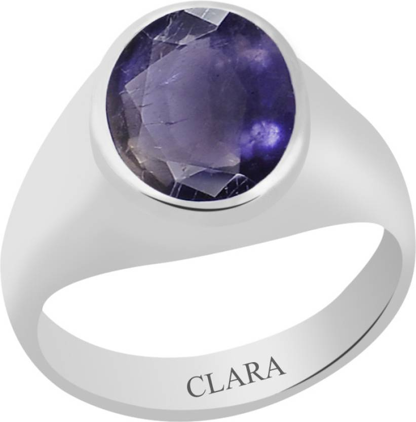 Clara Certified Neeli 3 cts or 3.25 ratti Bold Sterling Silver Ring
