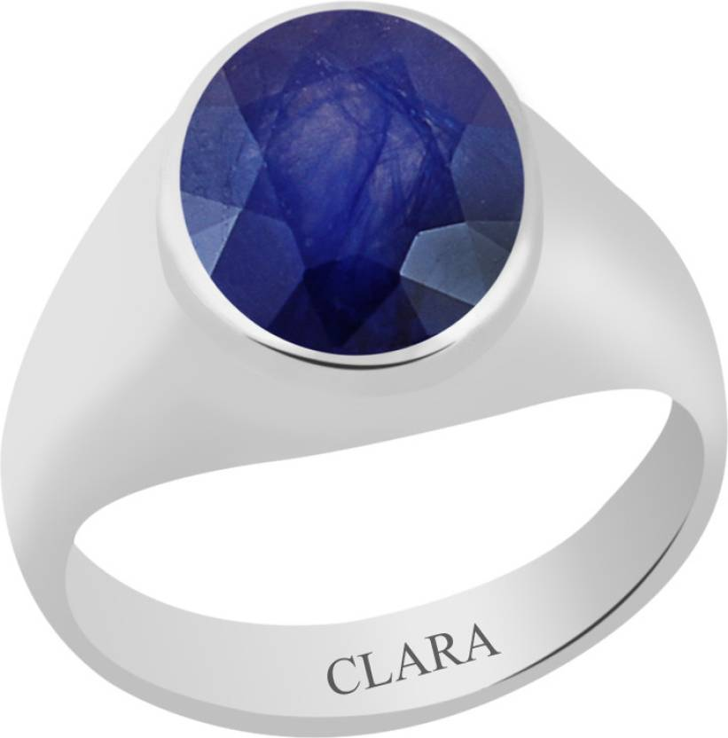 Clara Certified Neelam 4.8 cts or 5.25 ratti Bold Sterling Silver Sapphire Ring