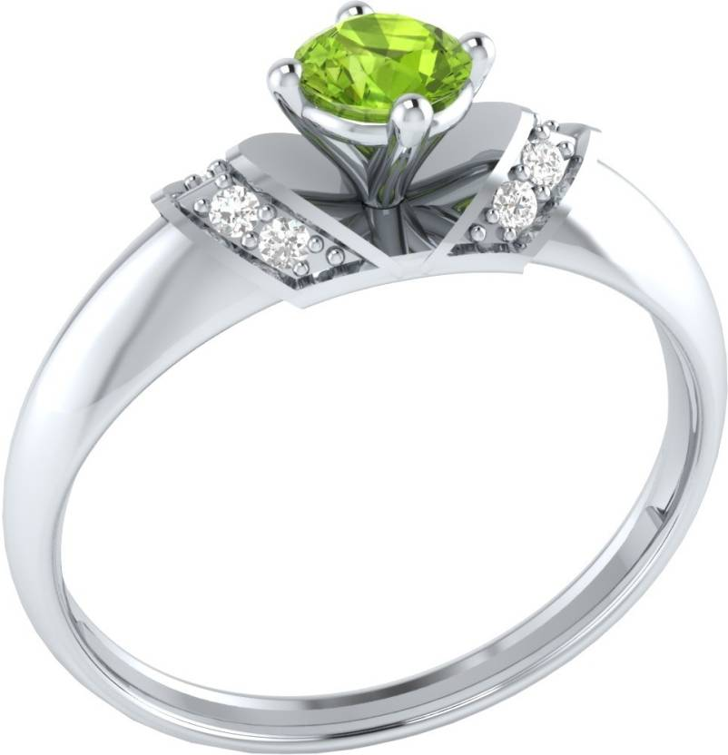 Caratopia Promise Sterling Silver Peridot, Sapphire 18K White Gold Ring