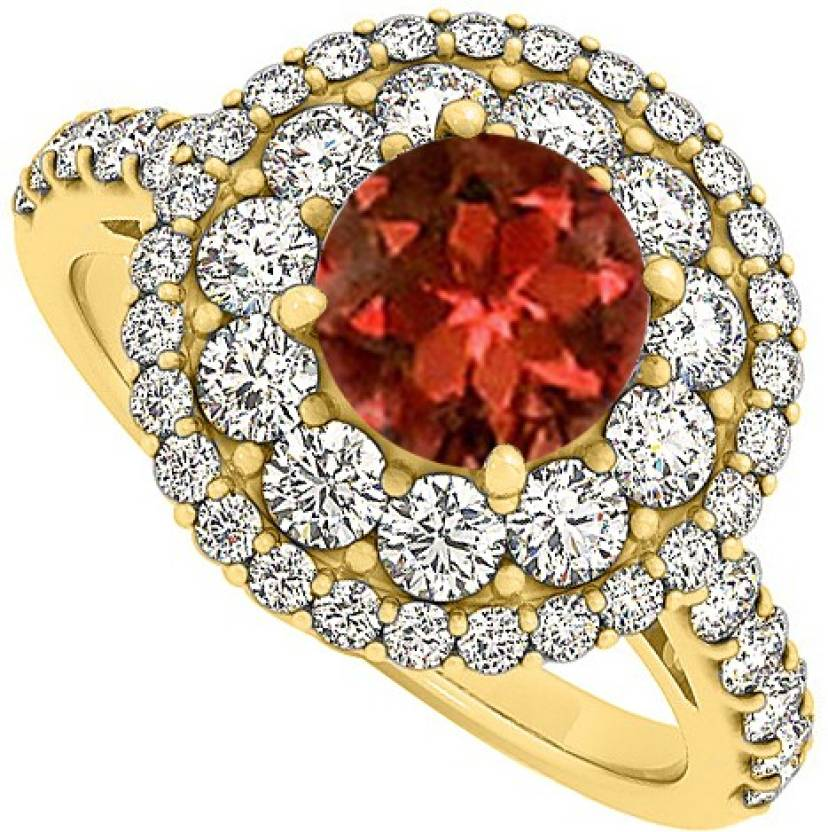 Love Bright Jewelry Sterling Silver Garnet, Cubic Zirconia Yellow Gold Ring
