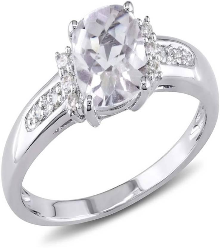 Kiara Jewellery Sterling Silver Swarovski Crystal Sterling Silver Ring