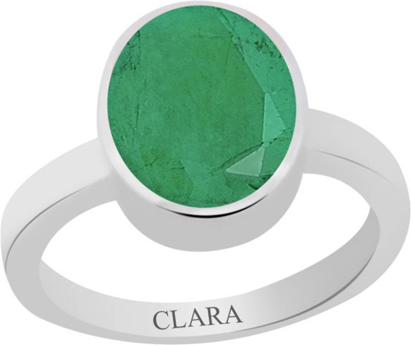 Clara Certified Panna 5.5 cts or 6.25 ratti Elegant Sterling Silver Emerald Ring