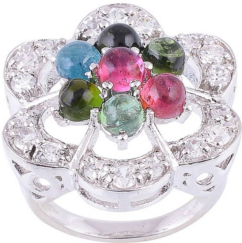 Jewelina Gems Silver Rhodium Plated Ring