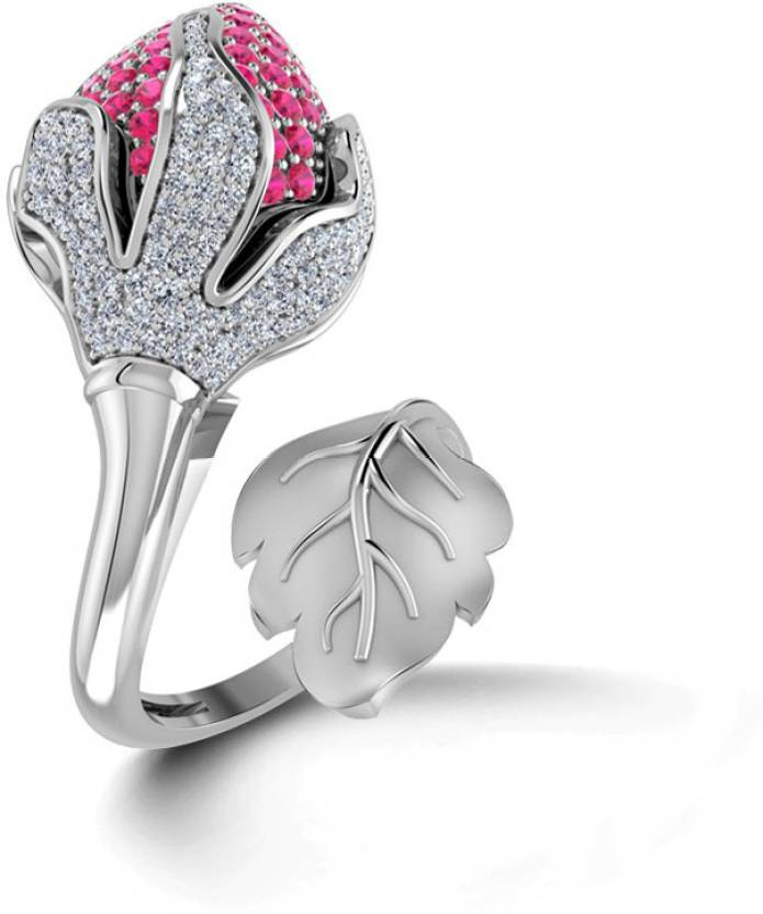 Caratlane Rose Bud 18kt Diamond Yellow Gold ring Price in India