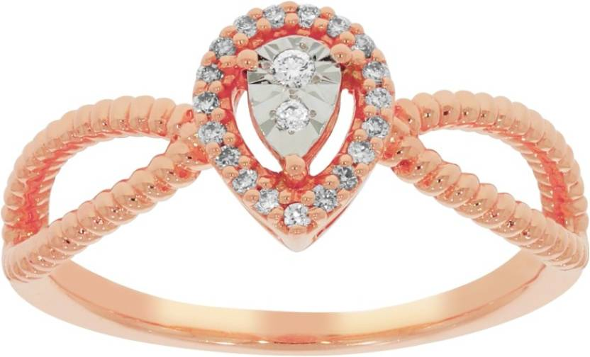 Kalyan Jewellers Light weight Fancy 18kt Diamond Rose Gold ring