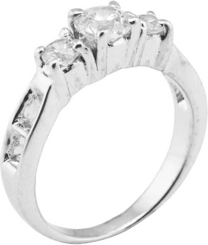 Emaira Alluring Sterling Silver Swarovski Crystal Platinum Plated Ring