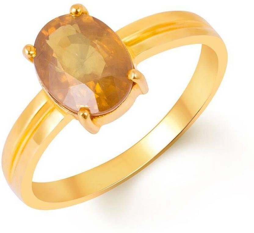 Kundali Pukhraj Stone Weight 3 7 Carat 4 35 Ratti Gold