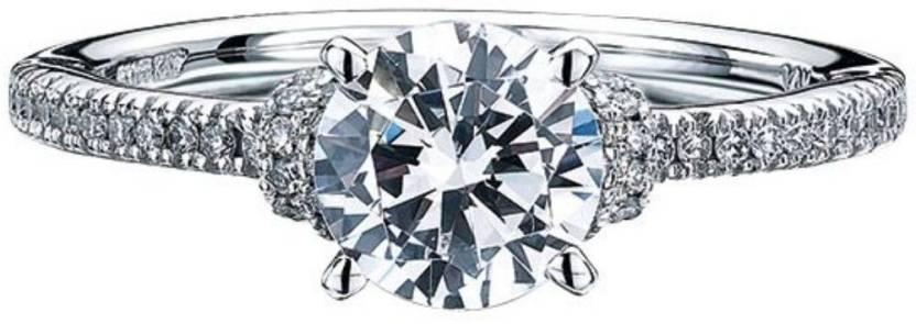 Zevrr Silver Swarovski Crystal Platinum Plated Ring