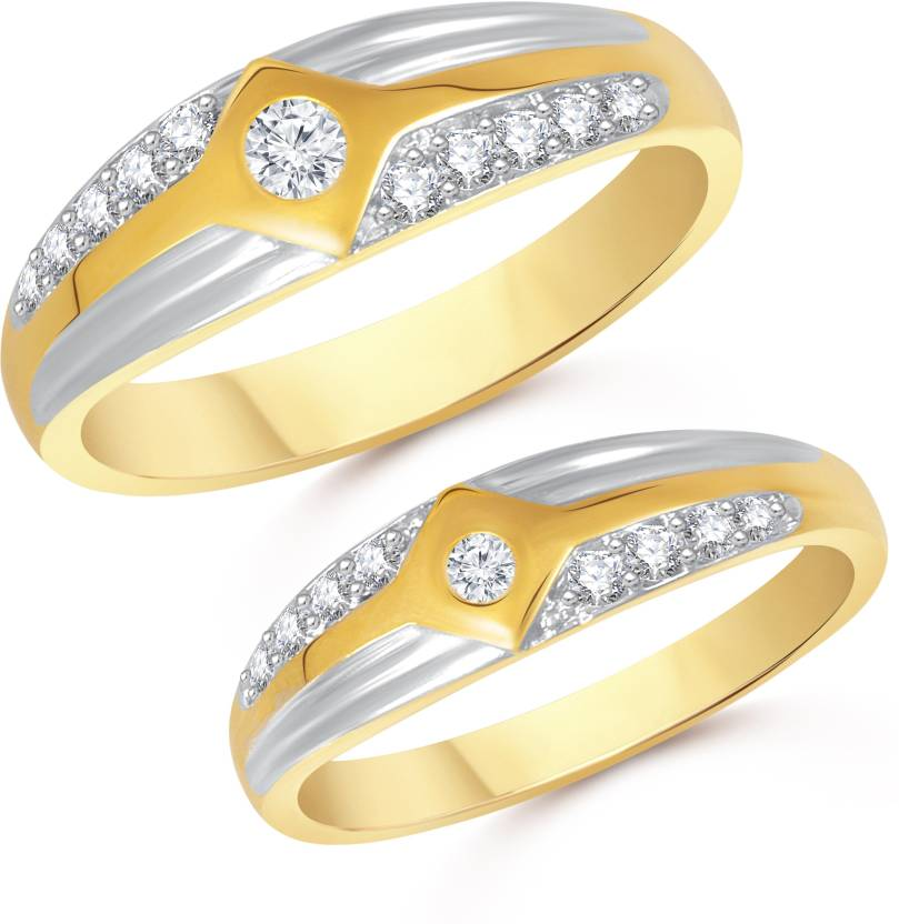 Vk Jewels Proposal Wedding Rings Alloy Cubic Zirconia Gold Plated Ring Set