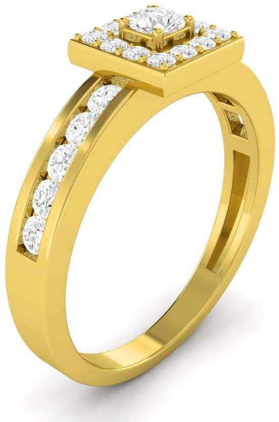 Vijisan 0.89 Ct. Square Frame Halo Style Bridal Engagement Women's Sterling Silver Cubic Zirconia 18K Yellow Gold Plated Ring