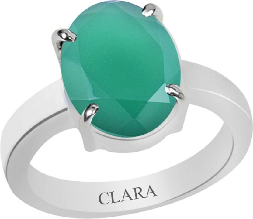 Clara Certified Haqiq 8.3 cts or 9.25 ratti 4 Prongs Sterling Silver Onyx Ring
