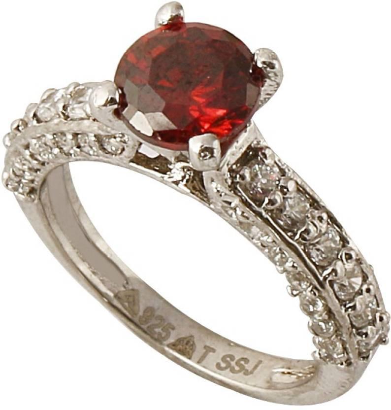 S S Jewellers Sterling Silver Swarovski Crystal Platinum Ring