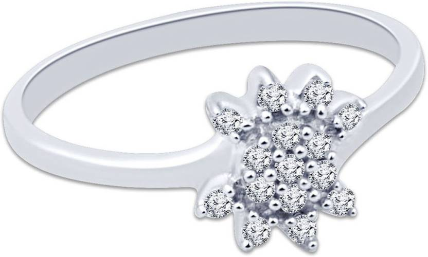 Navvya Silver Cubic Zirconia Rhodium Plated Ring