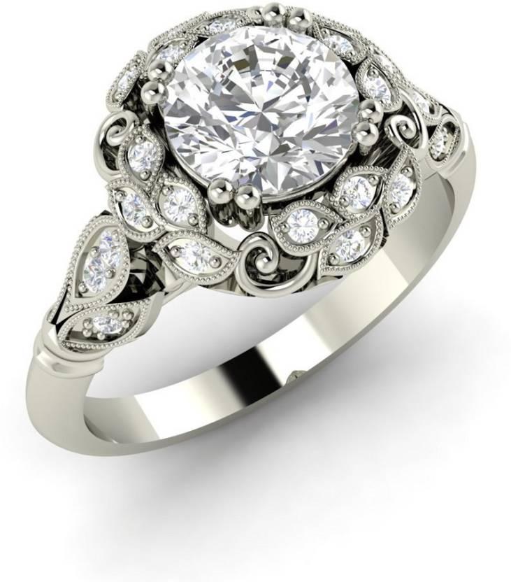 Vizyra Adorned Silver Swarovski Zirconia, Swarovski Crystal Platinum Ring