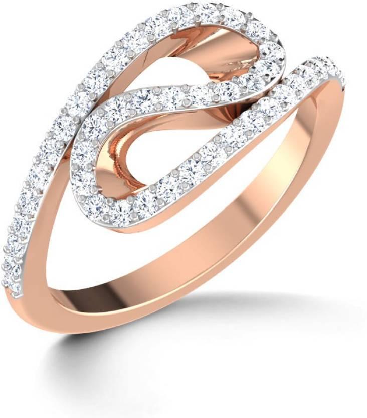 610391f3adf3b Caratlane Wave Sparkle 18kt Diamond Rose Gold ring Price in India ...