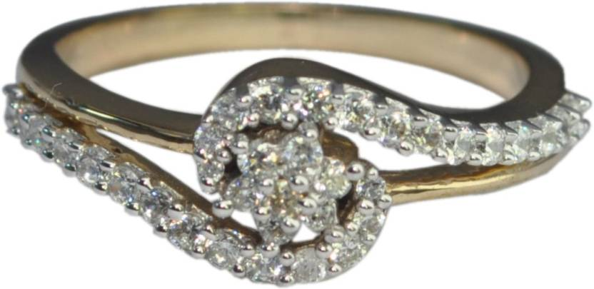G V Jewels Silver Cubic Zirconia Yellow Gold Plated Ring