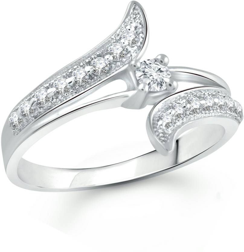 Vighnaharta Alloy Cubic Zirconia 18k White Gold Plated Ring