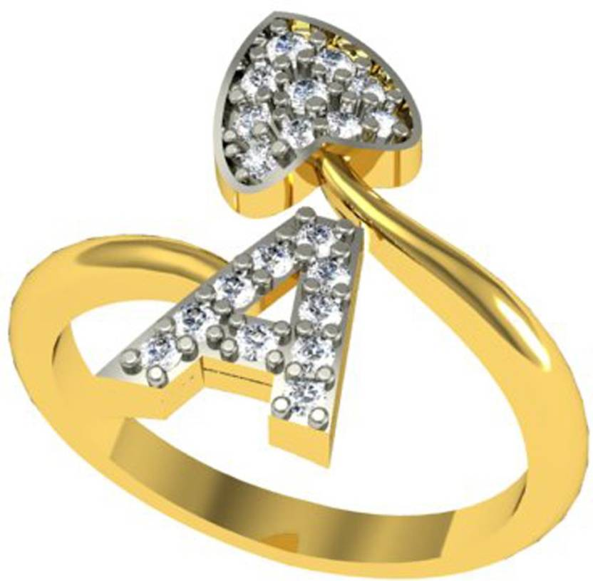 3877a2715a874 Jewelscart.in ALPHABET A HEART SHAPE CZ Gold And Rhodium Plated Brass  Rhodium Plated Ring