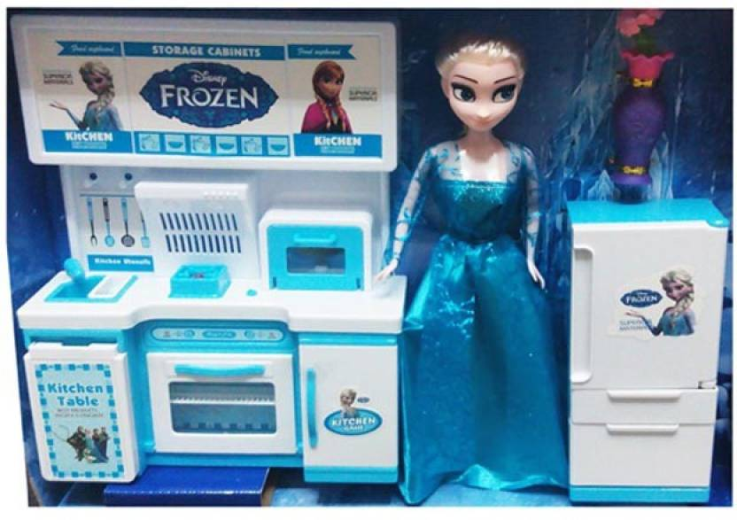 Gift World Frozen Kitchen Set With Doll Musical Kitchen Set With
