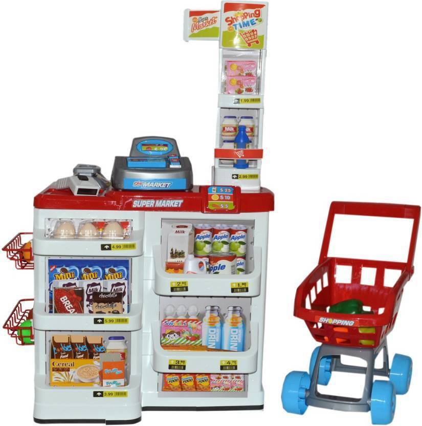 GoMerryKids Supermarket Shopping Set with Products, Cash Register, Scanner  & Trolley