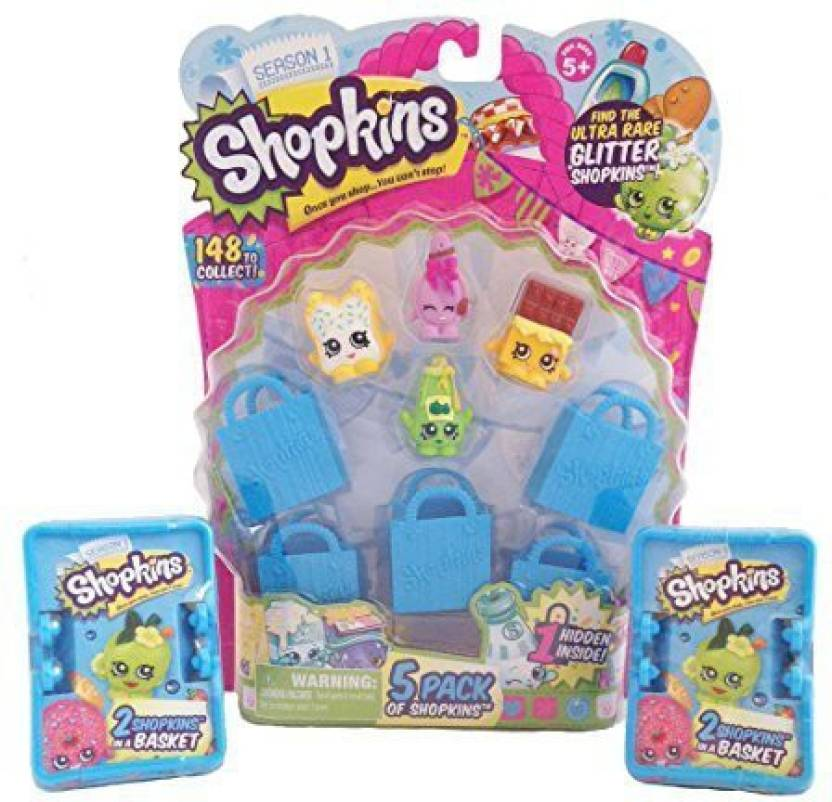 Moose Toys 5 Pack With 2 Shopkins Blind Basket Bundle Styles Will