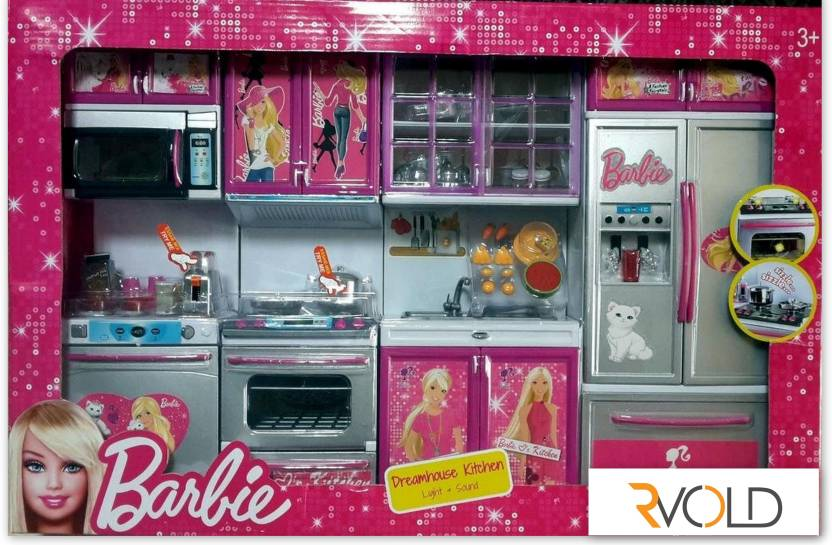 Rvold Barbie 4 Set Beautiful Kitchen With Lights And Sound Barbie