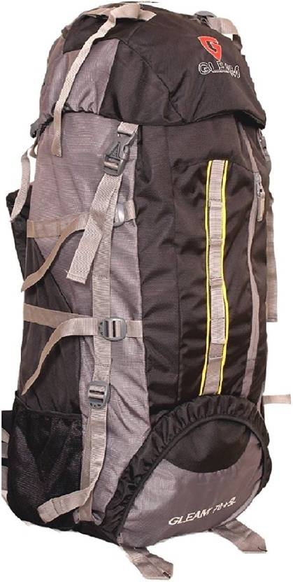a9651e9b3f Gleam 2209 Climate Proof Mountain Campaign   Hiking   Trekking Bag   Backpack  75 ltrs Black   Grey with RAIN COVER Rucksack - 75 L (Black)