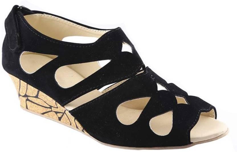 654e37c2665 Kanchan Women Black Wedges - Buy Black Color Kanchan Women Black Wedges  Online at Best Price - Shop Online for Footwears in India