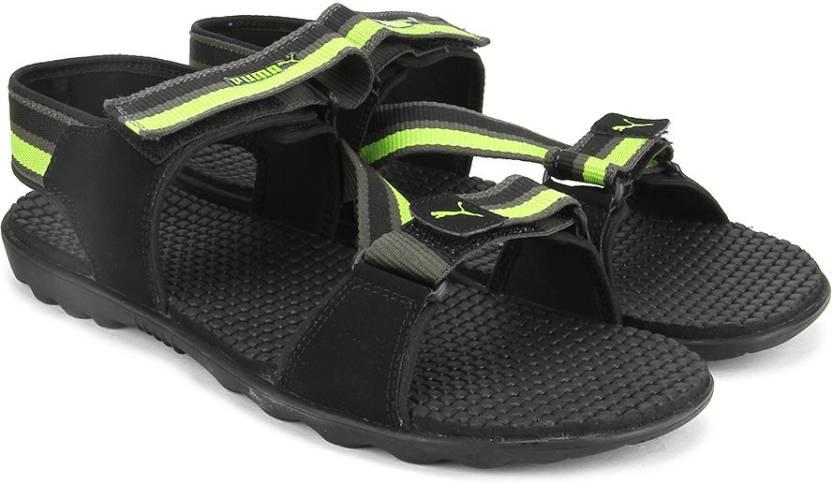 Puma Men black-dark shadow-lime punch Sports Sandals